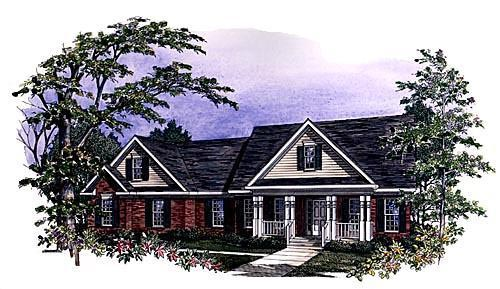 Traditional House Plan 58121 with 3 Beds, 2.5 Baths, 2 Car Garage Picture 1