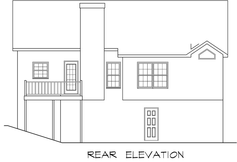 Traditional House Plan 58123 with 3 Beds, 2 Baths, 2 Car Garage Rear Elevation