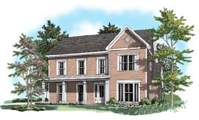 House Plan 58124 | Style Plan with 2121 Sq Ft, 3 Bedrooms, 2.5 Bathrooms, 2 Car Garage Elevation