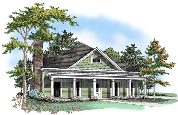 Colonial House Plan 58128 with 3 Beds, 2.5 Baths, 2 Car Garage Elevation