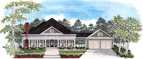 House Plan 58129 | Traditional Style Plan with 1980 Sq Ft, 3 Bedrooms, 2.5 Bathrooms, 2 Car Garage Elevation