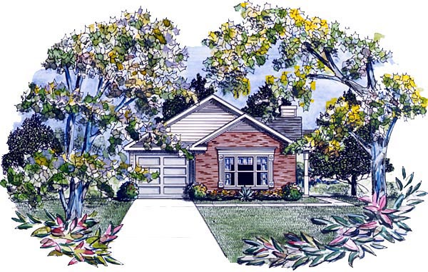 Traditional House Plan 58130 with 3 Beds, 2 Baths, 1 Car Garage Elevation