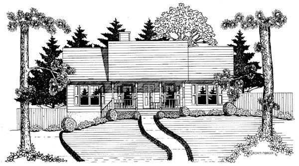 Ranch House Plan 58132 with 3 Beds, 2 Baths, 2 Car Garage Elevation