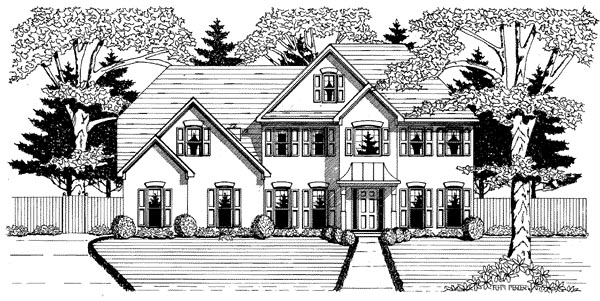 Traditional House Plan 58134 with 4 Beds, 3.5 Baths, 2 Car Garage Elevation