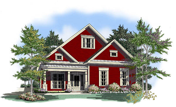 Bungalow House Plan 58138 with 3 Beds, 3 Baths, 2 Car Garage Elevation