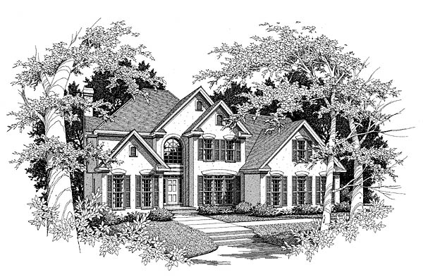 Traditional House Plan 58139 with 4 Beds, 4 Baths, 2 Car Garage Elevation