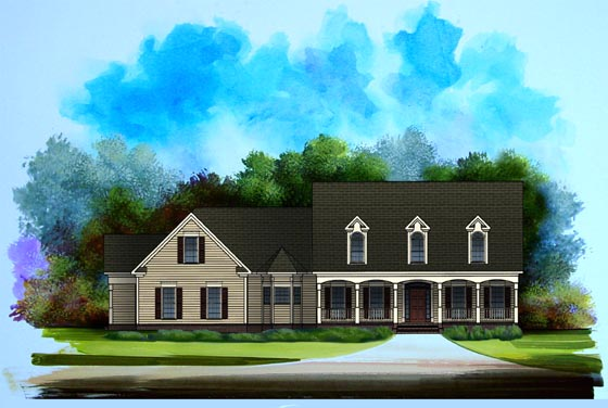 Traditional House Plan 58140 with 3 Beds, 2.5 Baths, 2 Car Garage Elevation