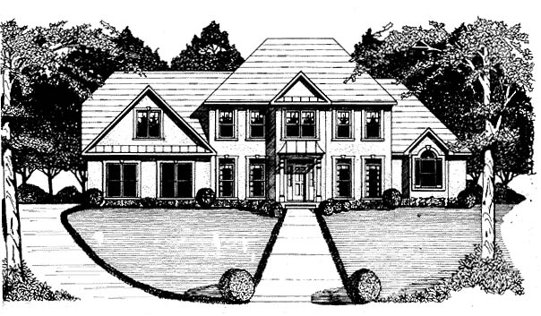 Colonial House Plan 58142 with 4 Beds, 4 Baths, 3 Car Garage Elevation