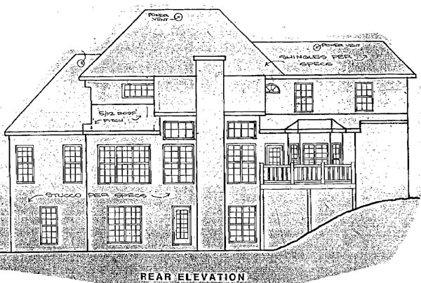 Colonial Rear Elevation of Plan 58142