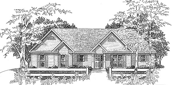 Tudor House Plan 58144 with 3 Beds, 2 Baths, 2 Car Garage Elevation