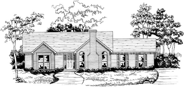 House Plan 58145 | Traditional Style Plan with 1269 Sq Ft, 3 Bedrooms, 2 Bathrooms, 2 Car Garage Elevation