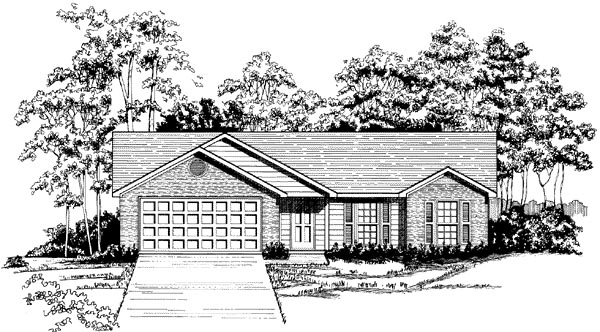 Ranch House Plan 58148 with 3 Beds, 2 Baths, 2 Car Garage Elevation