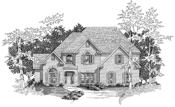 European House Plan 58149 with 4 Beds, 3.5 Baths, 3 Car Garage Front Elevation