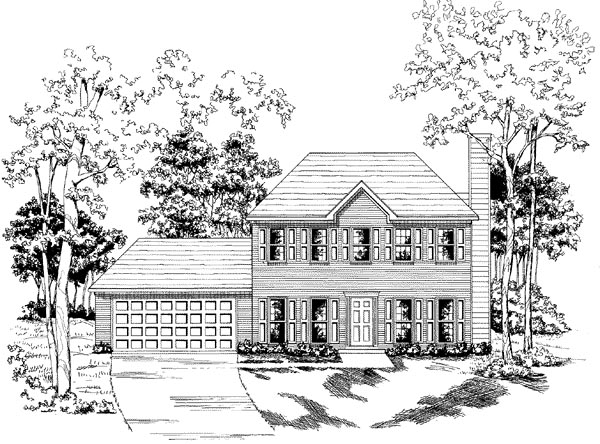 Traditional House Plan 58150 with 3 Beds, 2.5 Baths, 2 Car Garage Front Elevation