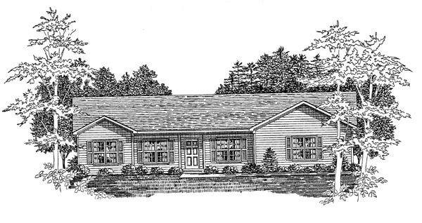 Ranch House Plan 58156 with 3 Beds, 2 Baths, 2 Car Garage Elevation