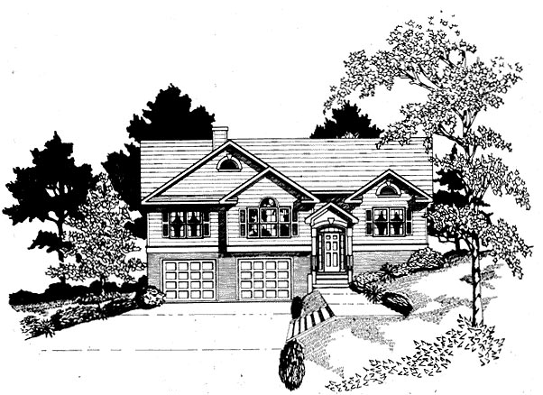 Traditional House Plan 58161 with 3 Beds, 2 Baths, 2 Car Garage Elevation