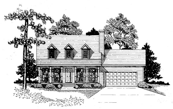 Cape Cod House Plan 58163 with 3 Beds , 2 Baths , 2 Car Garage Elevation