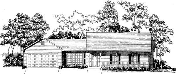 House Plan 58172 | Ranch Style House Plan with 1242 Sq Ft, 3 Bed, 2 Bath, 2 Car Garage Elevation