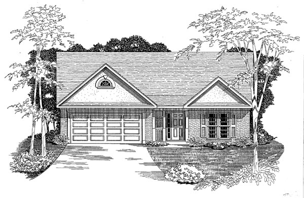 Traditional House Plan 58173 with 3 Beds, 2 Baths, 2 Car Garage Elevation