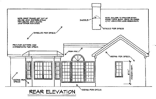 Traditional House Plan 58173 Rear Elevation