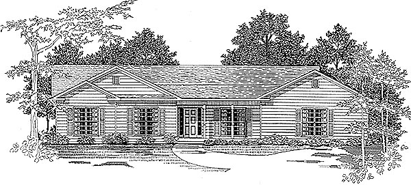 Ranch House Plan 58176 with 4 Beds , 2 Baths , 2 Car Garage Elevation