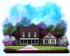 Traditional House Plan 58177 with 4 Beds, 4 Baths, 2 Car Garage Elevation