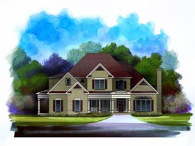 Traditional House Plan 58178 with 3 Beds, 4 Baths, 3 Car Garage Elevation