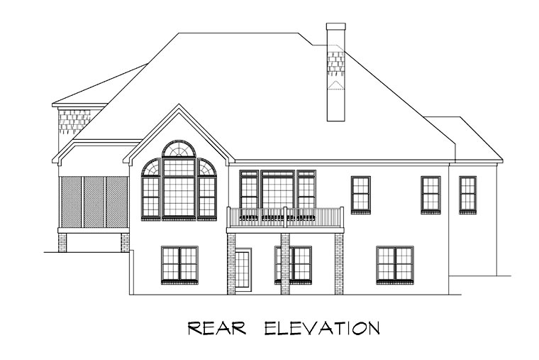 Craftsman House Plan 58183 with 4 Beds, 4 Baths, 2 Car Garage Rear Elevation