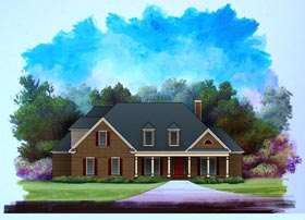 House Plan 58187 | Traditional Style Plan with 2870 Sq Ft, 4 Bedrooms, 4 Bathrooms, 2 Car Garage Elevation