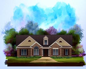 Traditional House Plan 58189 with 3 Beds, 2 Baths, 2 Car Garage Elevation