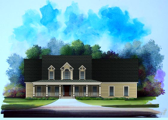 Country House Plan 58190 with 4 Beds, 3 Baths, 2 Car Garage Elevation