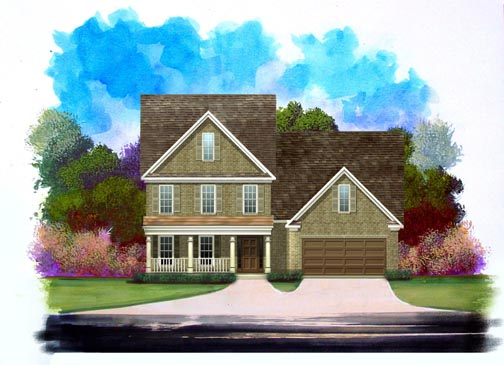 Traditional House Plan 58191 with 4 Beds, 3 Baths, 2 Car Garage Elevation