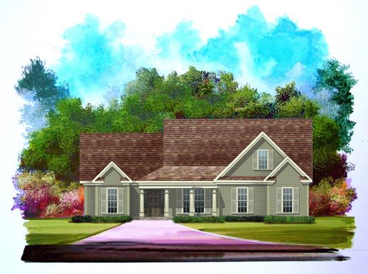 House Plan 58194 | Country Style Plan with 1807 Sq Ft, 3 Bedrooms, 2 Bathrooms, 2 Car Garage Elevation