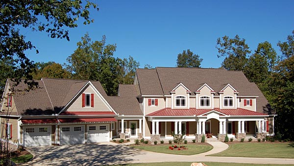 Traditional House Plan 58200 with 4 Beds, 4 Baths, 3 Car Garage Elevation