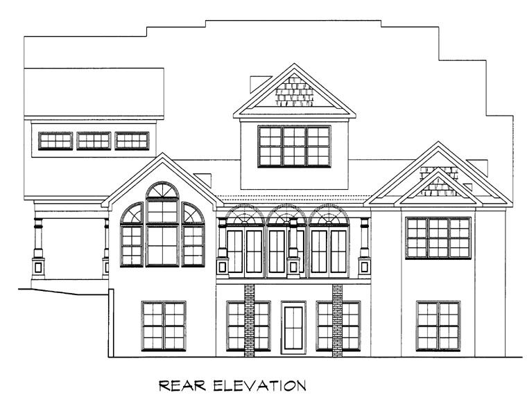 Craftsman House Plan 58201 with 4 Beds, 4 Baths, 2 Car Garage Rear Elevation
