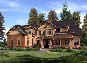 House Plan 58202 | Craftsman French Country Style Plan with 4815 Sq Ft, 5 Bedrooms, 5 Bathrooms, 3 Car Garage Elevation
