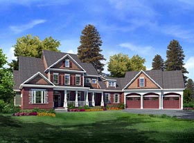 House Plan 58204 | Craftsman Style House Plan with 3730 Sq Ft, 3 Bed, 4 Bath, 3 Car Garage Elevation