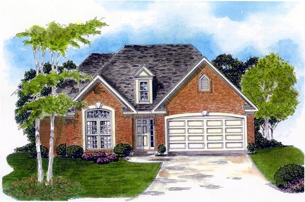 One-Story, Traditional House Plan 58208 with 3 Beds, 2 Baths, 2 Car Garage Elevation