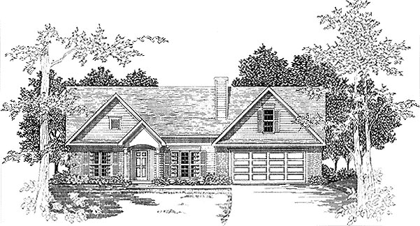 One-Story , Traditional , Elevation of Plan 58210