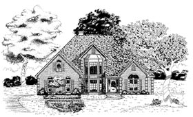 European House Plan 58214 with 4 Beds, 3 Baths, 2 Car Garage Elevation