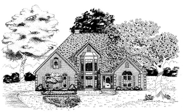 European House Plan 58214 Elevation