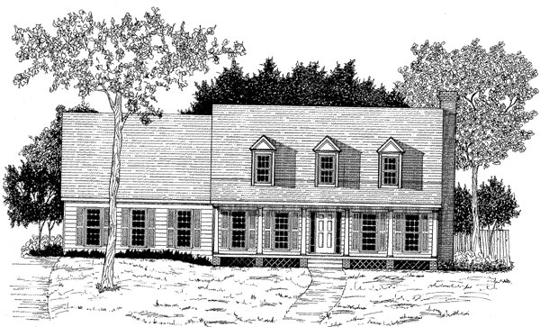 Cape Cod , Elevation of Plan 58215