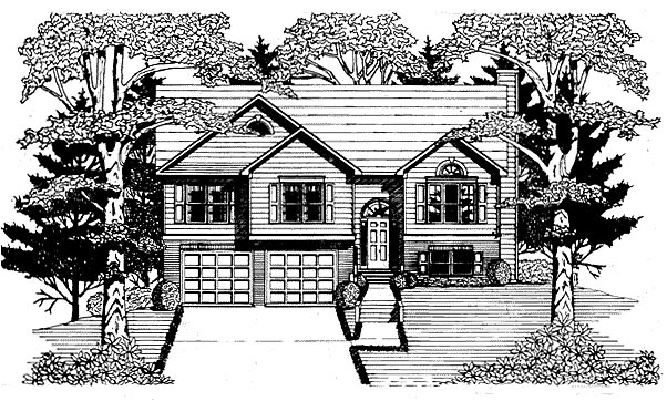 House Plan 58217 | Traditional Style Plan with 1363 Sq Ft, 3 Bedrooms, 2 Bathrooms, 2 Car Garage Elevation