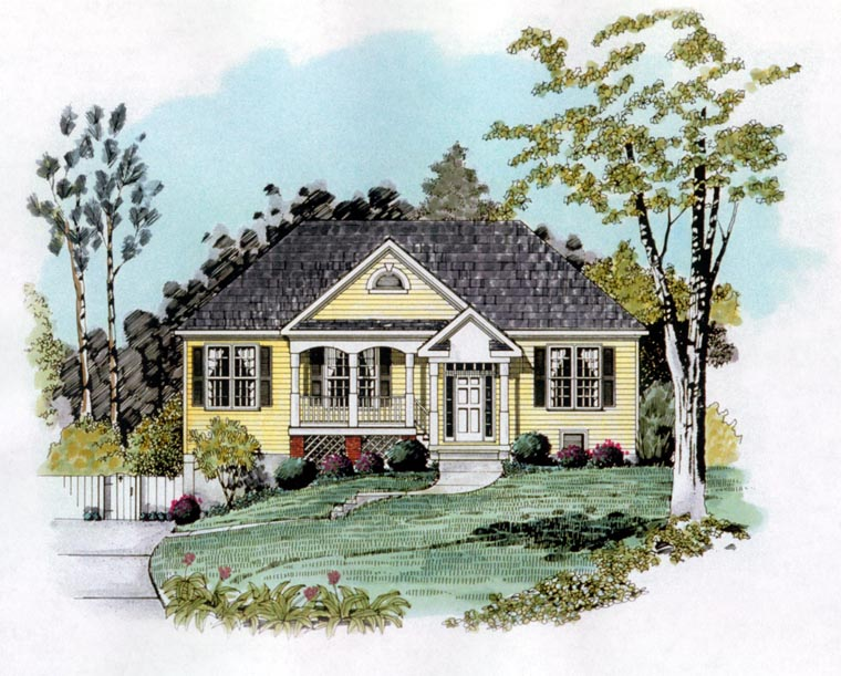 Traditional House Plan 58218 with 3 Beds, 2 Baths, 2 Car Garage Elevation