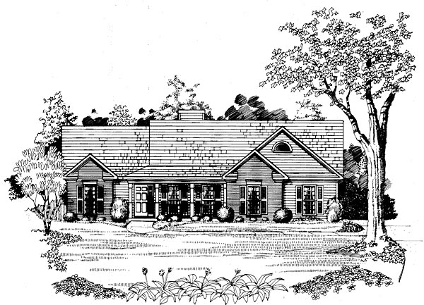 Ranch House Plan 58219 Elevation