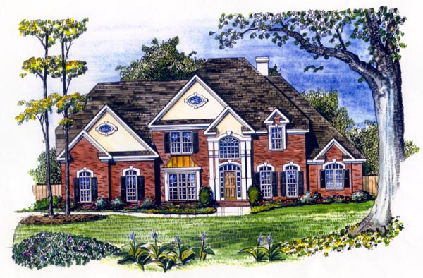 European House Plan 58222 with 4 Beds, 4 Baths, 3 Car Garage Elevation