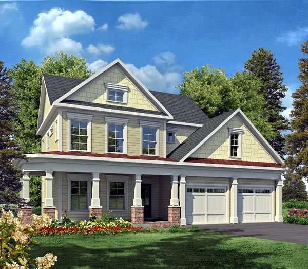 House Plan 58229 | Craftsman Traditional Style Plan with 2334 Sq Ft, 3 Bedrooms, 3 Bathrooms, 2 Car Garage Elevation