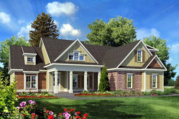 Craftsman , Traditional , Elevation of Plan 58231