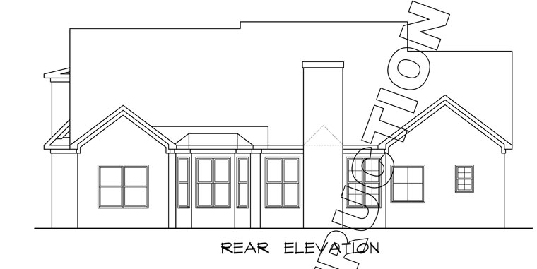 Craftsman , Traditional , Rear Elevation of Plan 58231
