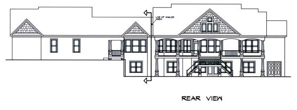 Craftsman House Plan 58232 with 5 Beds, 7 Baths, 3 Car Garage Rear Elevation